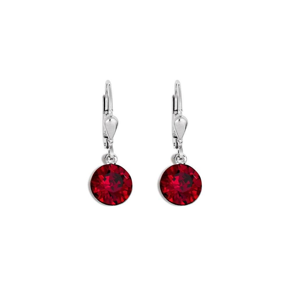 Coeur De Lion Deep Red Crystal Earrings, Stainless Steel
