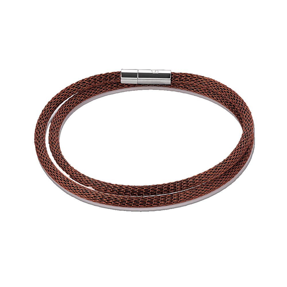 Coeur De Lion Brown Mesh Bracelet, Stainless Steel