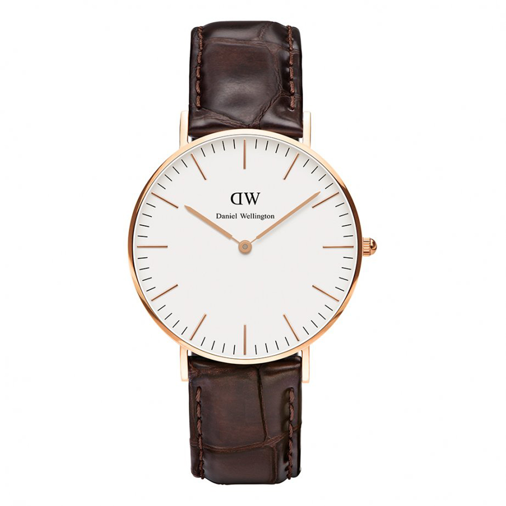 Daniel Wellington - Ladies' Classic York Watch with Brown Leather Strap, Rose Gold