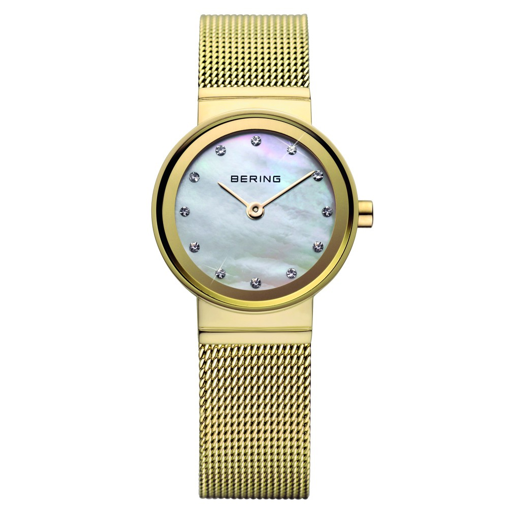 Bering Ladies' Classic Pearl Dial & Gold Strap Watch | 10122-334