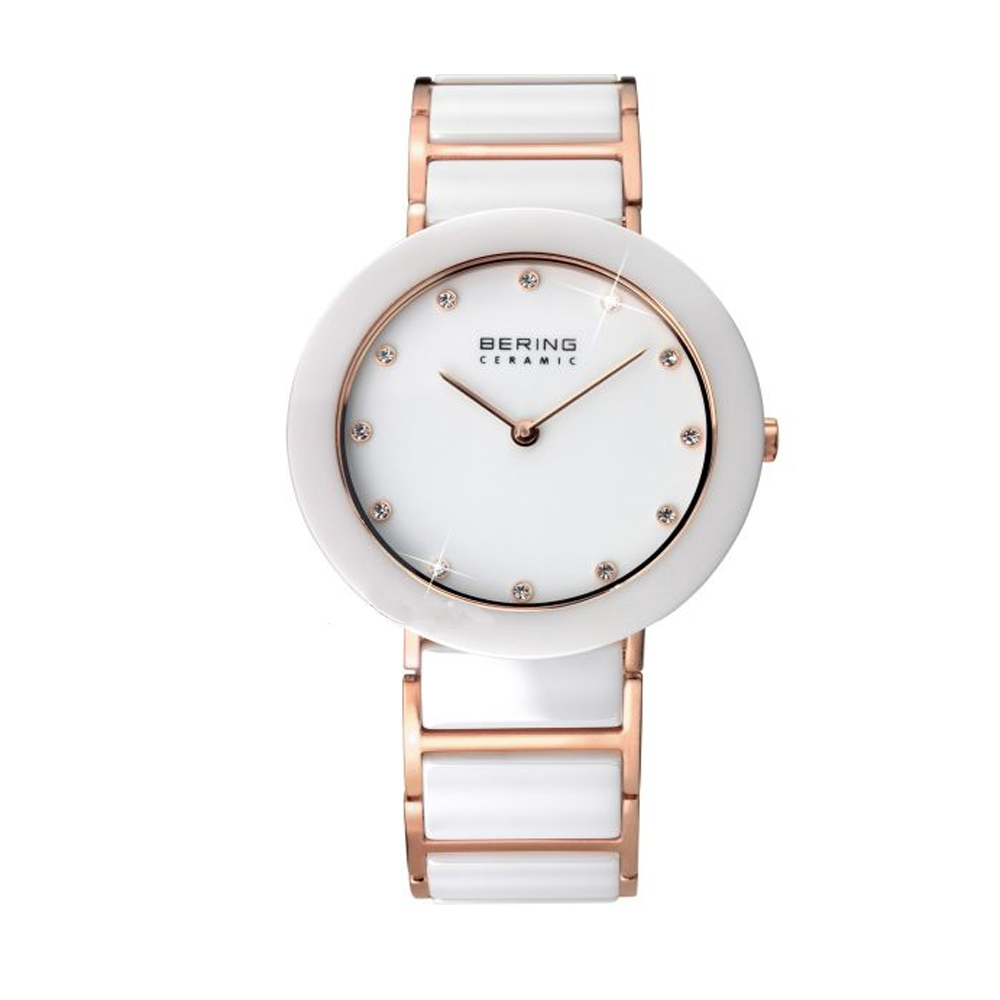 Bering Ladies' Ceramic Rose Gold & White Dial Whtie Watch | 11435-766