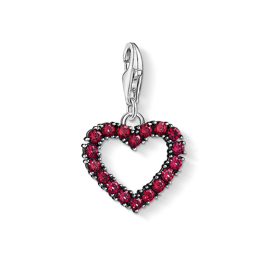Thomas Sabo Charm Club Heart With Hot Pink Stones Charm Pendant *NO PACKAGING*