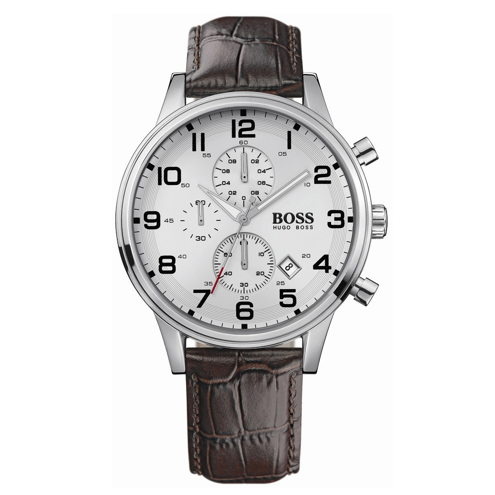 Hugo Boss Chronograph Silver Dial Back Leather Strap Watch | 1512447