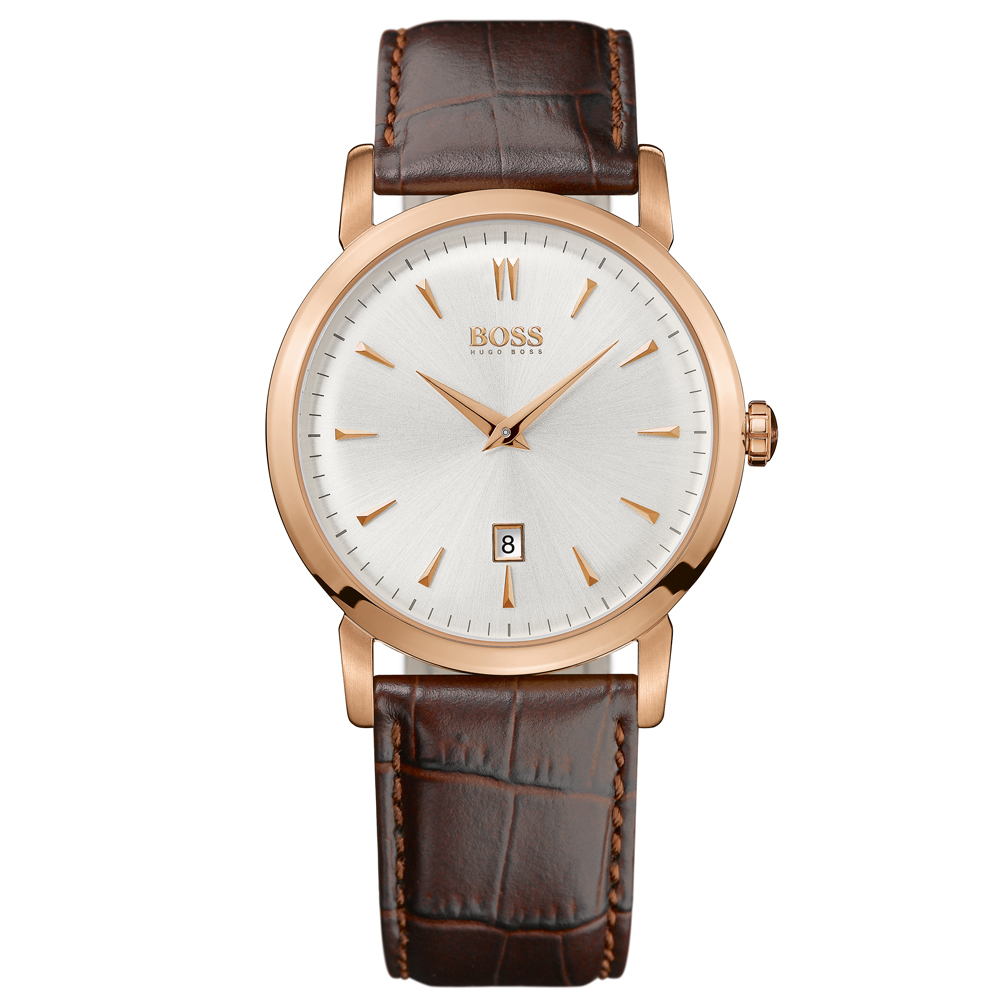Hugo Boss White Dial Brown Leather Strap Rose Gold Watch | 1512634