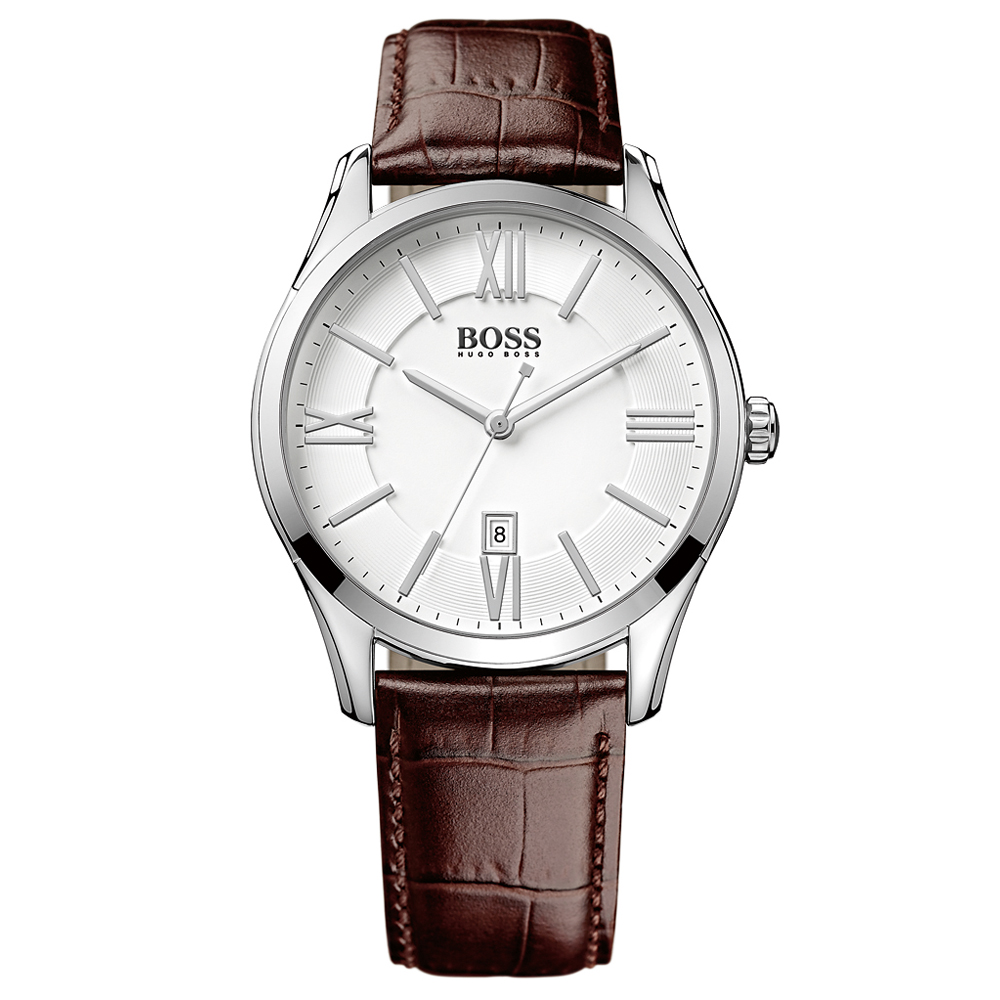 Hugo Boss Brown Leather Strap Silver Watch | 1513021
