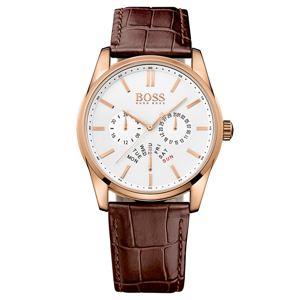 Hugo Boss Heritage Chronograph Brown Leather Strap Rose Gold Watch | 1513125
