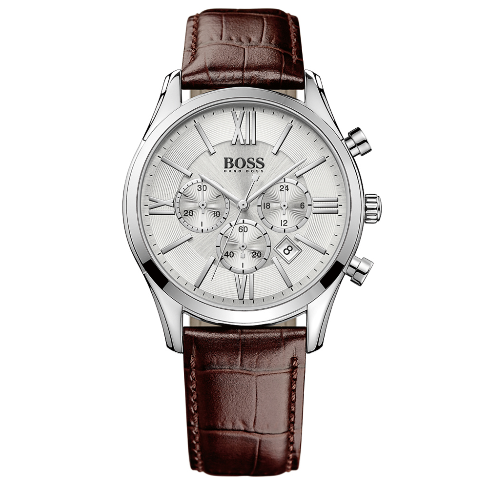 Hugo Boss Ambassador Chronograph Brown Leather Strap Silver Watch | 1513195