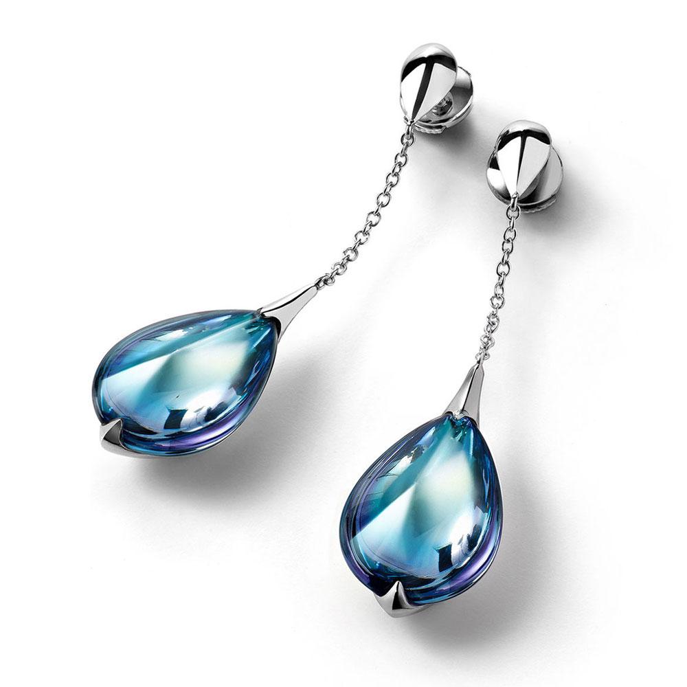 Baccarat Fleurs De Psydelic Aqua Mirror Earrings | 2805025