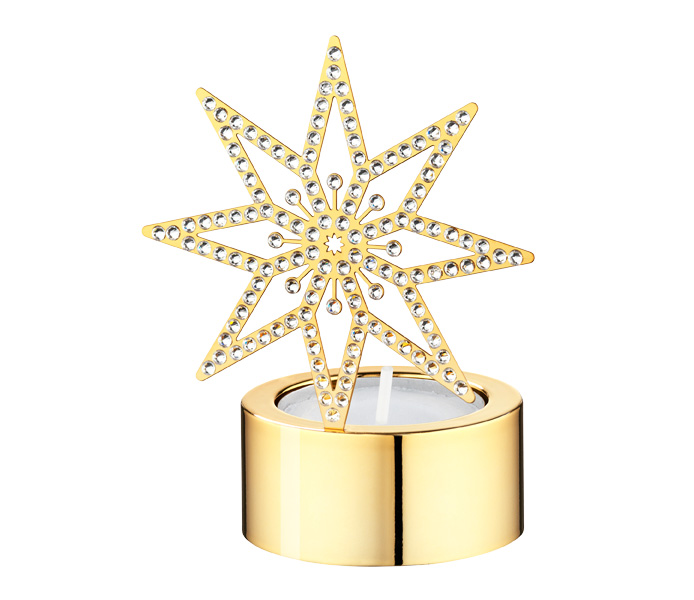 Swarovski Crystal  Christmas  Golden Star Tea Light