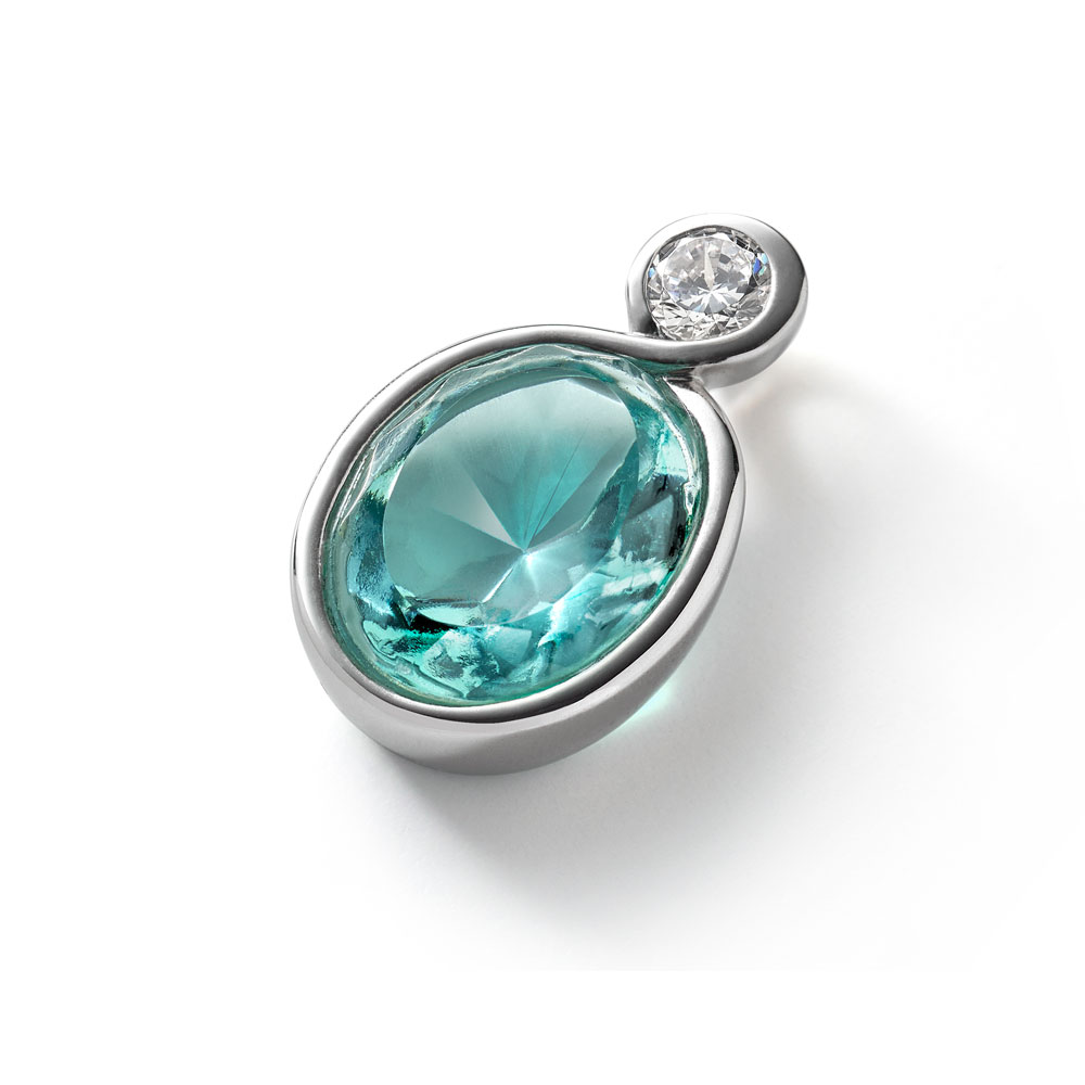 Baccarat Croise Silver & Turquoise Crystal Pendant | 2812945