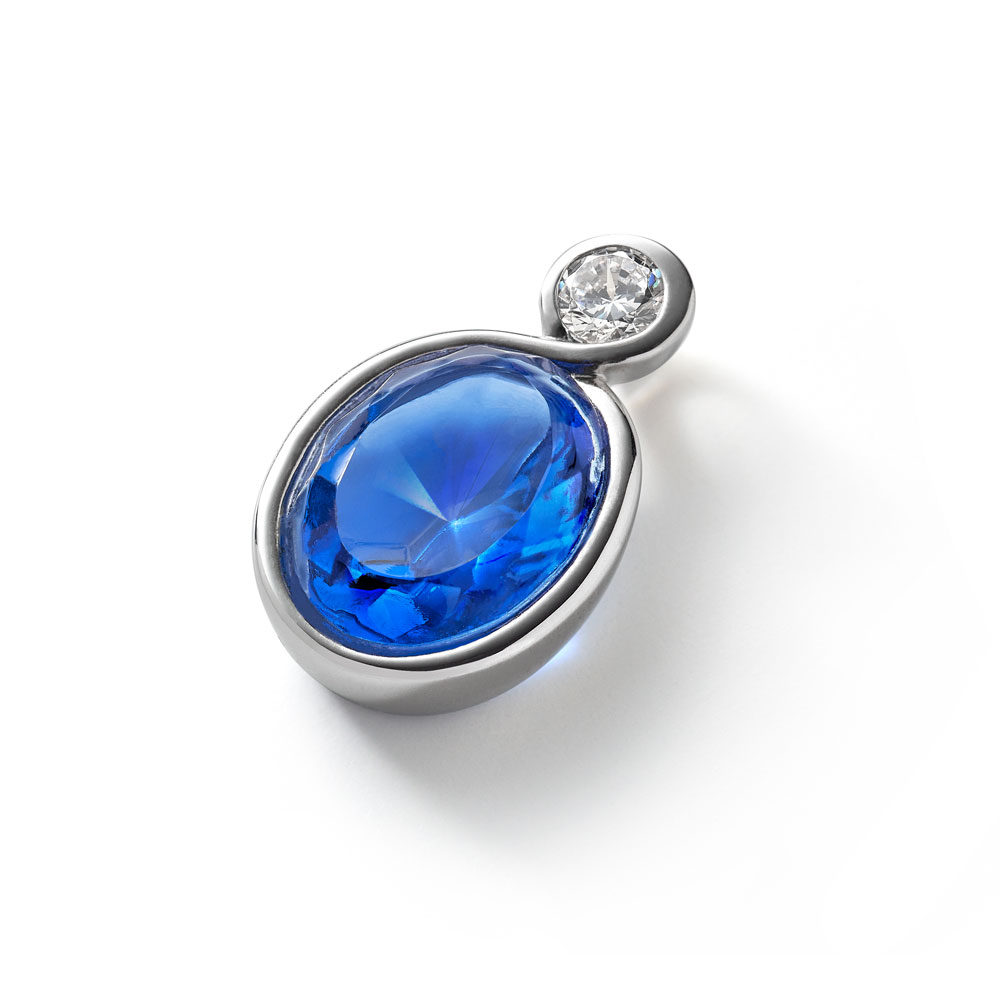 Baccarat Croise Silver & Blue Crystal Pendant | 2812947