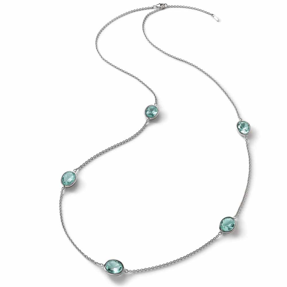 Baccarat Croise Long Silver & Turquoise Crystal Necklace