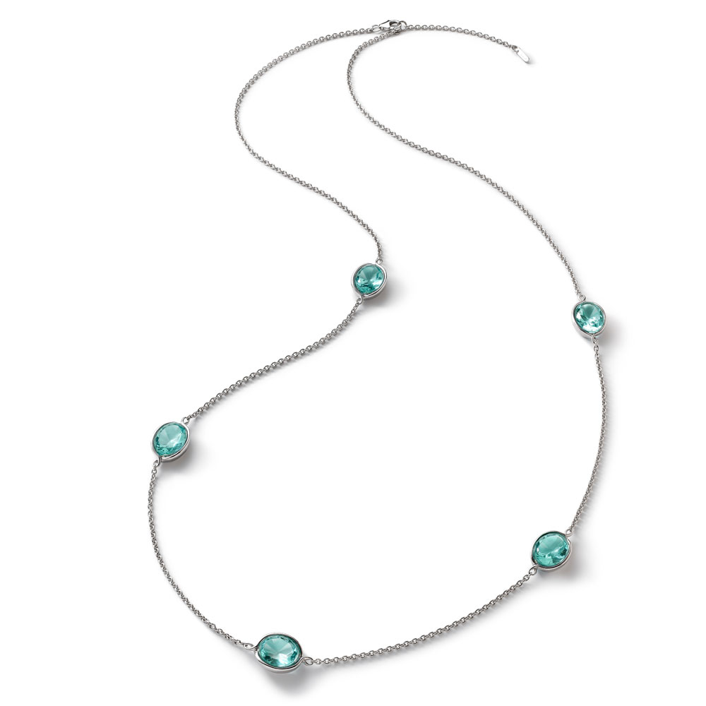 Baccarat Croise Long Silver & Turquoise Crystal Necklace | 2812951