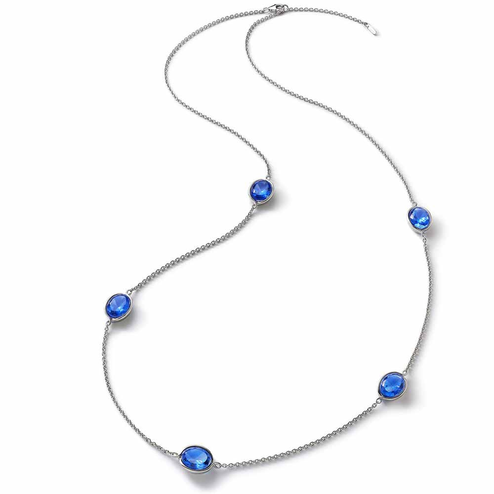Baccarat Croise Long Silver & Blue Crystal Necklace