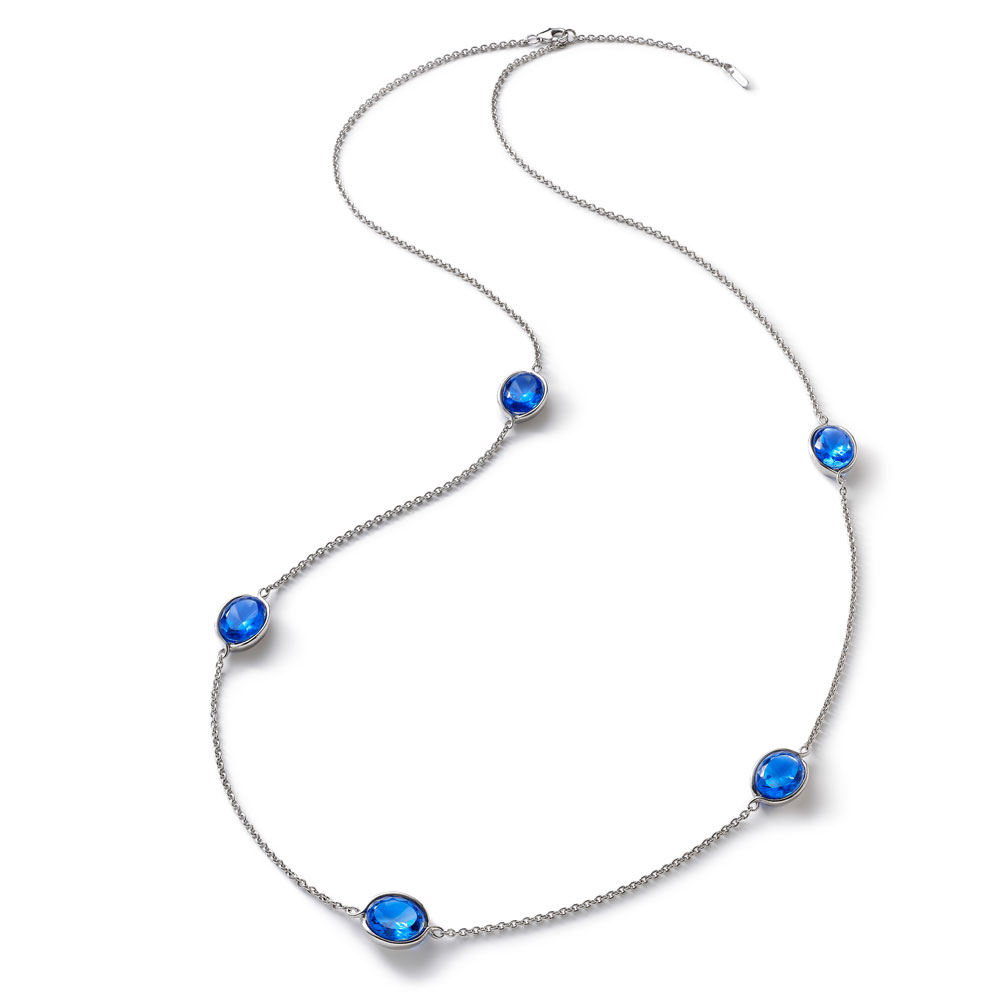 Baccarat Croise Long Silver & Blue Crystal Necklace | 2812953
