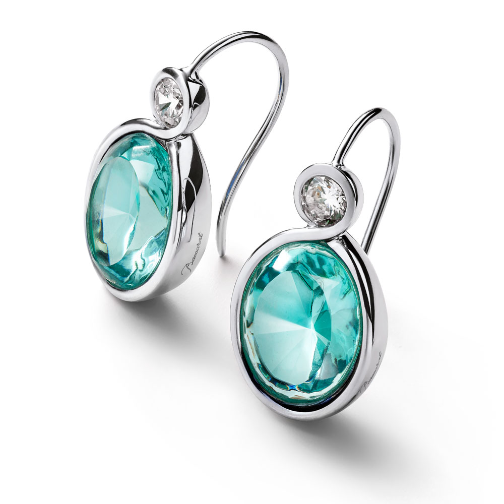 Baccarat Croise Wire Silver & Turquoise Crystal Earrings | 2812957