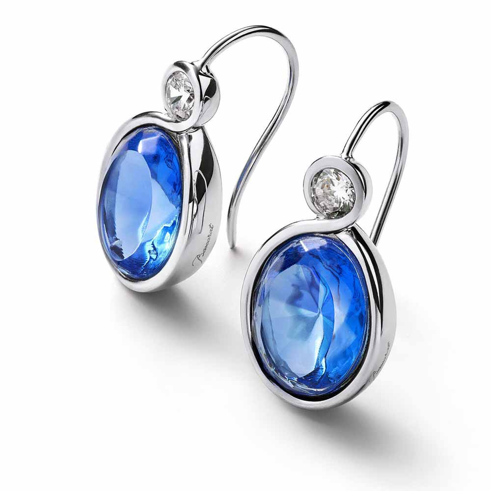 Baccarat Croise Wire Silver & Blue Crystal Earrings