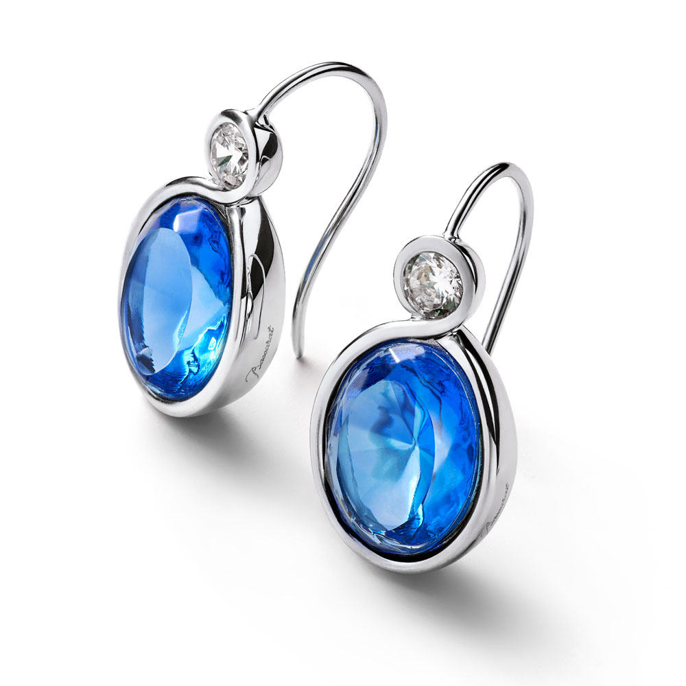 Baccarat Croise Wire Silver & Blue Crystal Earrings | 2812959
