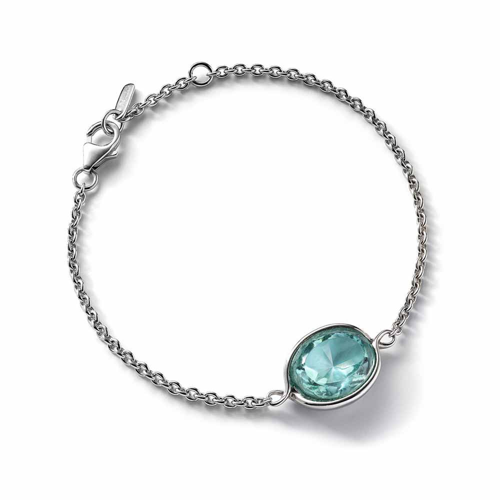 Baccarat Croise Chain Silver & Turquoise Crystal Bracelet