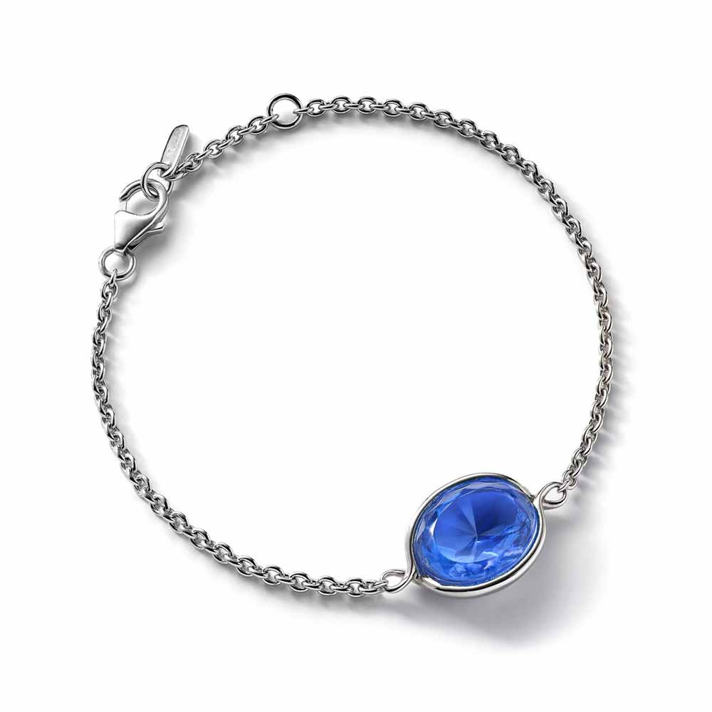 Baccarat Croise Chain Silver & Blue Crystal Bracelet