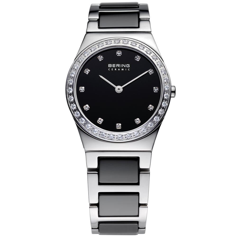 Bering Ladies' Ceramic Black & Crystal Watch | 32430-742
