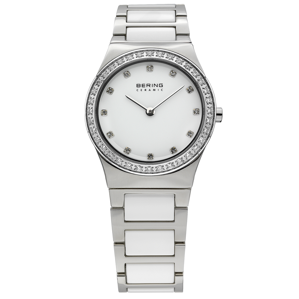 Bering Ladies' Ceramic White & Crystal Watch | 32430-754