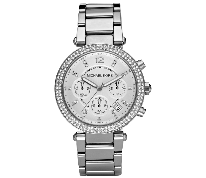 Michael Kors Parker Crystal Pave Chronograph Silver Ladies' Watch | MK5353