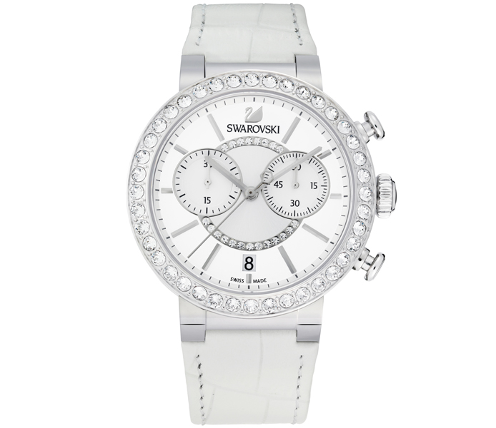 Swarovski Citra Sphere Chrono White & Silver Watch | 5027127