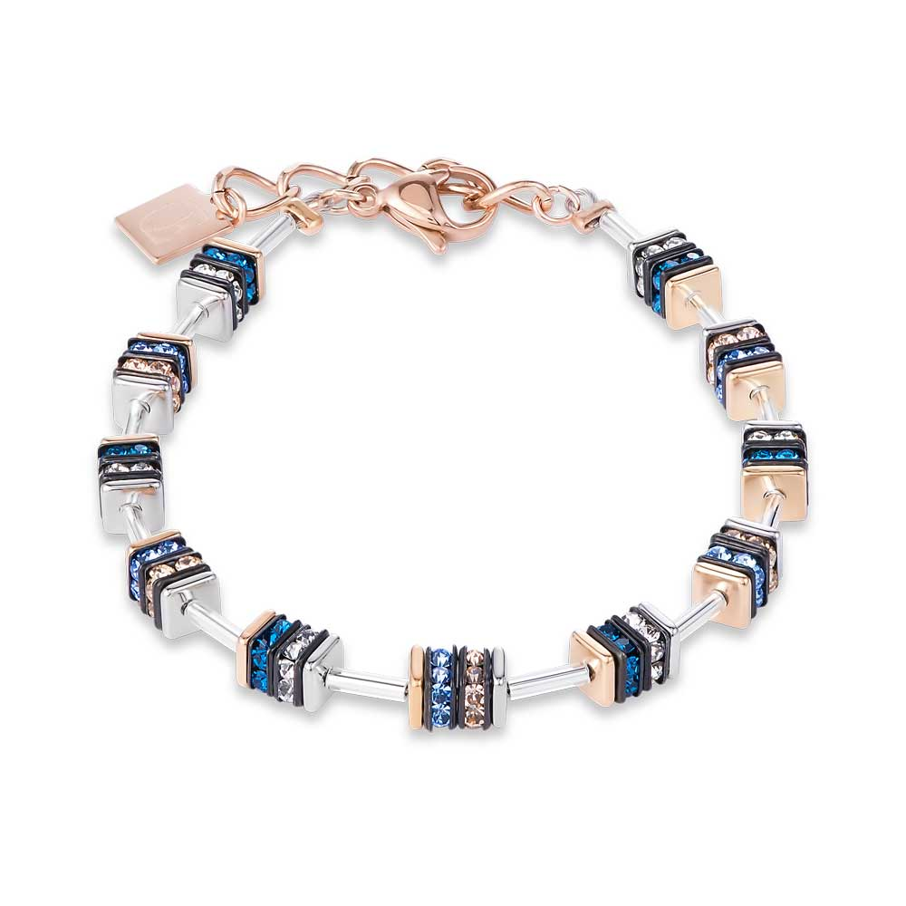 Coeur De Lion Geo Cube Blue & Rose Gold Plated Bracelet, Rose Gold Plated