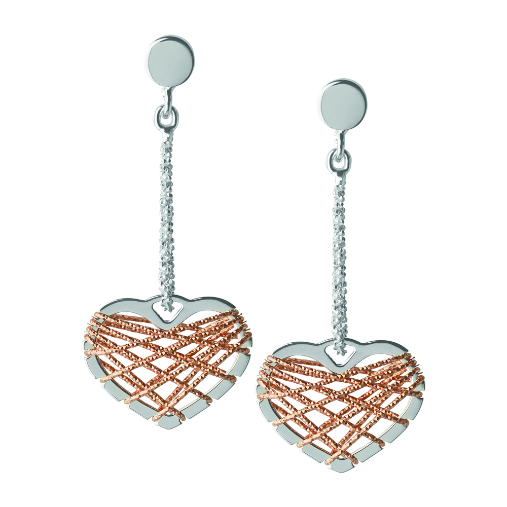 Links of London Dream Catcher Silver & Rose Gold Heart Drop Earrings | 5040.2329
