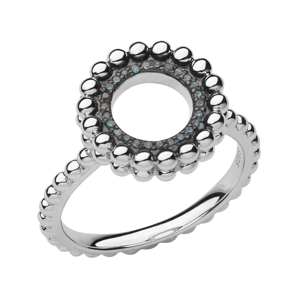 Links of London Effervescence Silver Blue Diamond Ring, Size N | 5045.5938