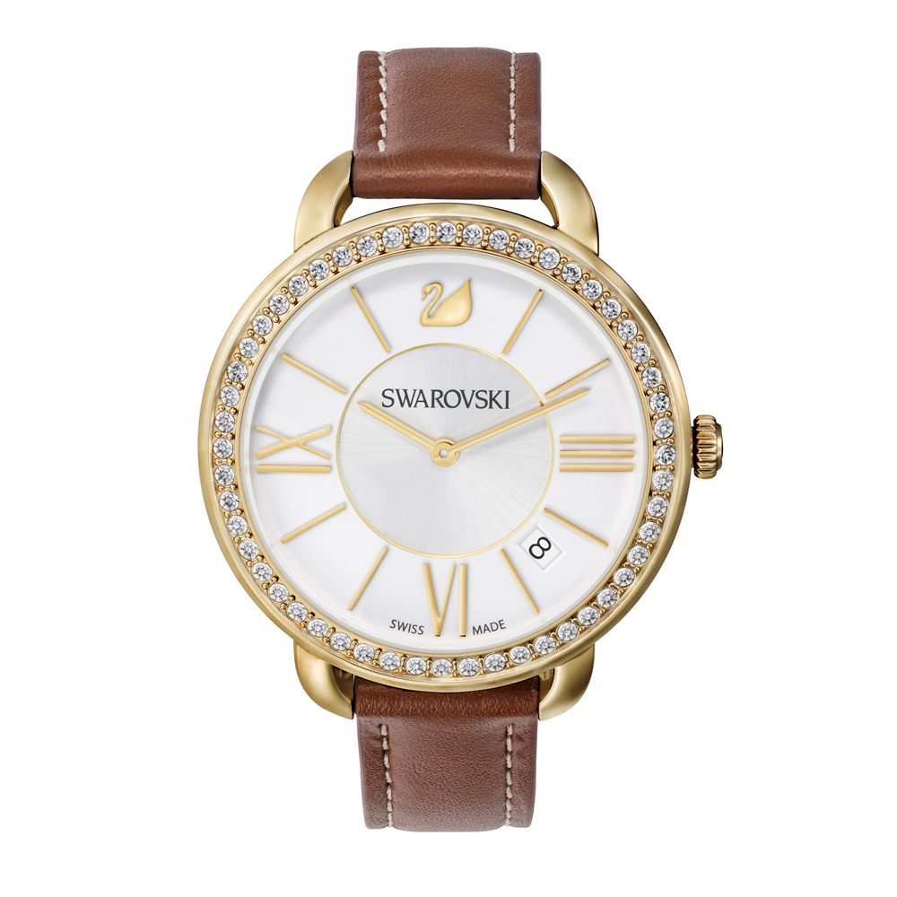 Swarovski Aila Day Brown & Gold Watch | 5095940