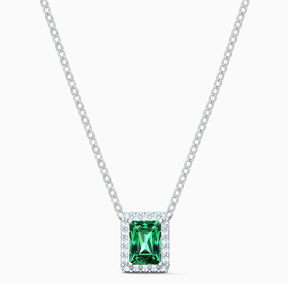 Swarovski Angelic Rectangular Necklace, Green, Rhodium Plated