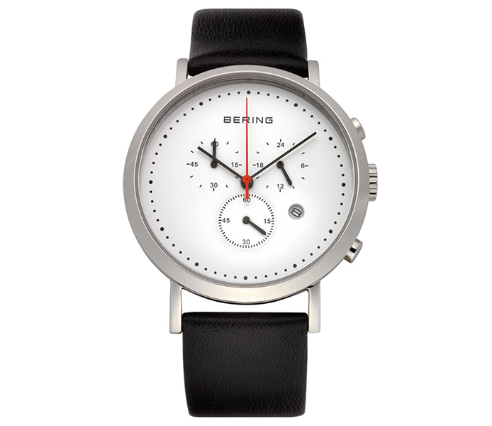 Bering Steel White Dial Chronograph Black Leather Strap Watch | 10540-404