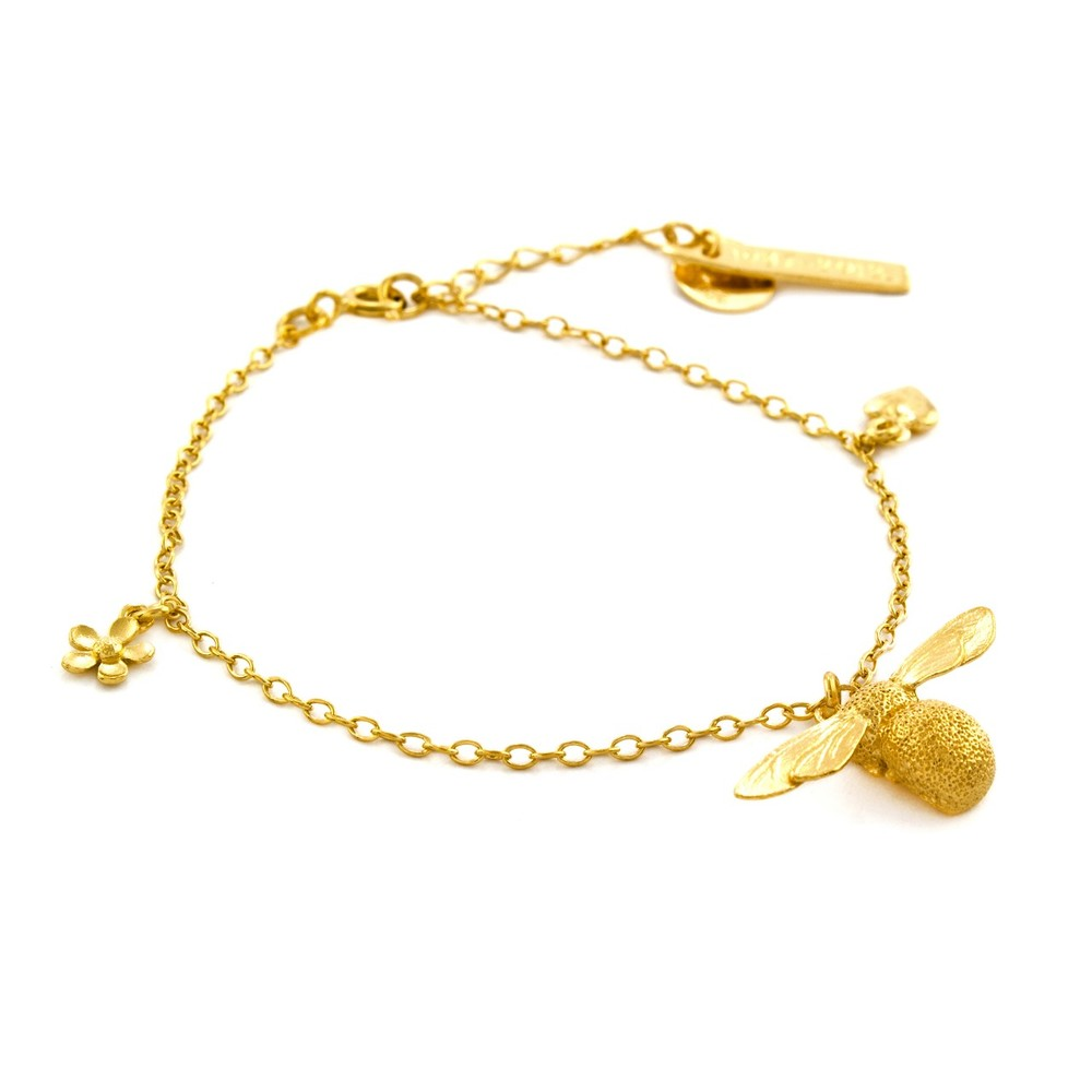 Alex Monroe Baby Bee Charm Gold Bracelet | AM2008/GP