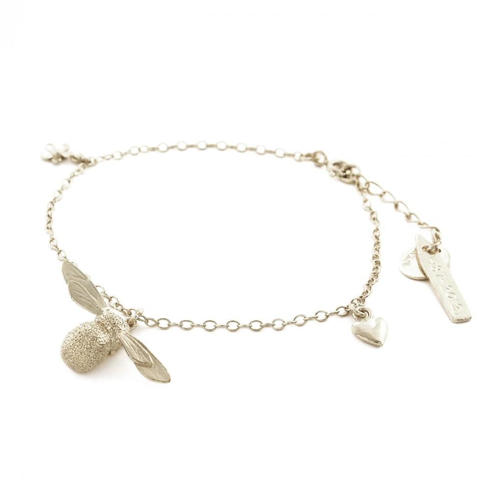 Alex Monroe Baby Bee Charm Silver Bracelet | AM2008/S