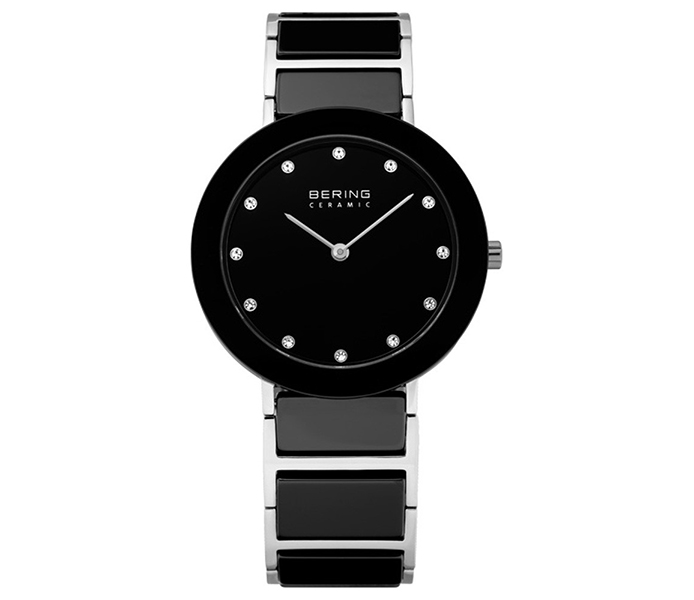 Bering Ladies' Links Black Ceramic & Silver Watch | 11435-749