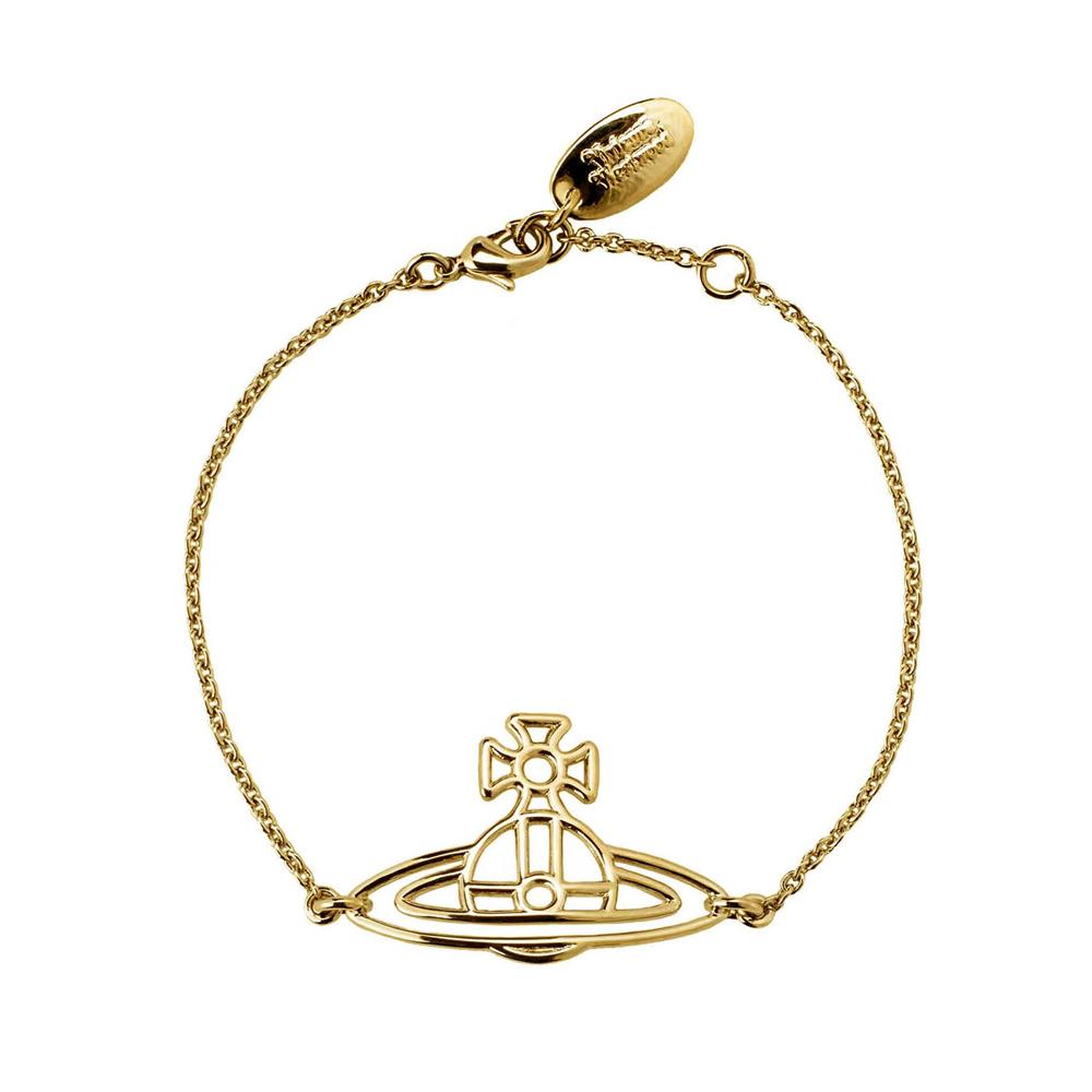 Vivienne Westwood Thin Lines Yellow Gold Flat Orb Bracelet   BBL1563