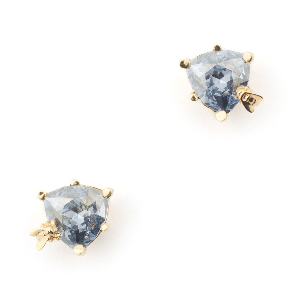 Bill Skinner Disco Bee Blue Crystal Stud, Gold Plated