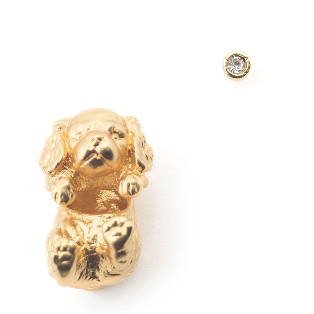 Bill Skinner Puppy Spaniel Through Earring & Crystal Stud, Gold Plated