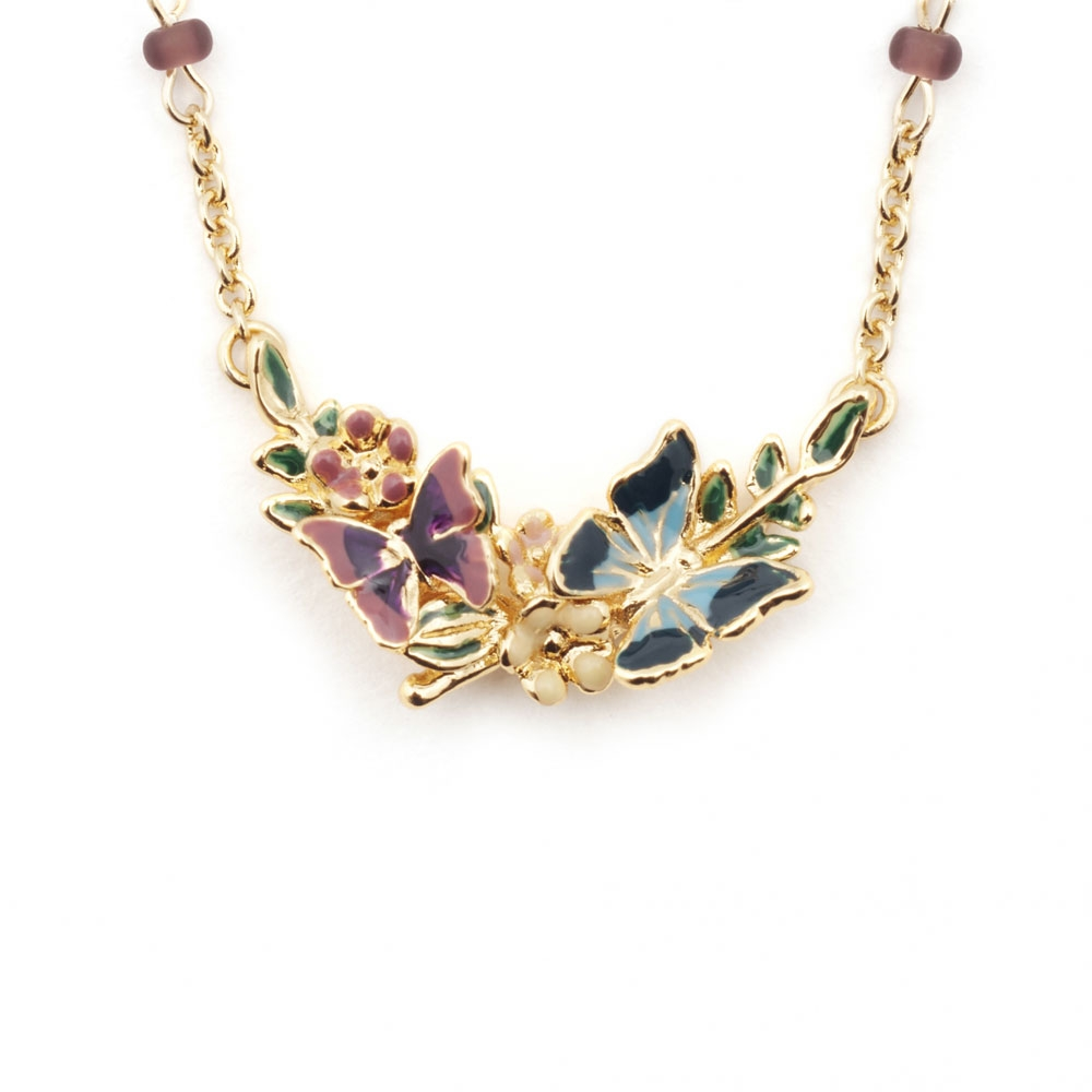 Bill Skinner Butterfly Floral Pendant, Gold Plated