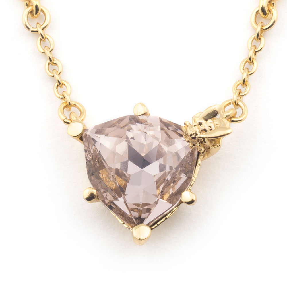 Bill Skinner Disco Bee Rose Crystal Pendant, Gold Plated