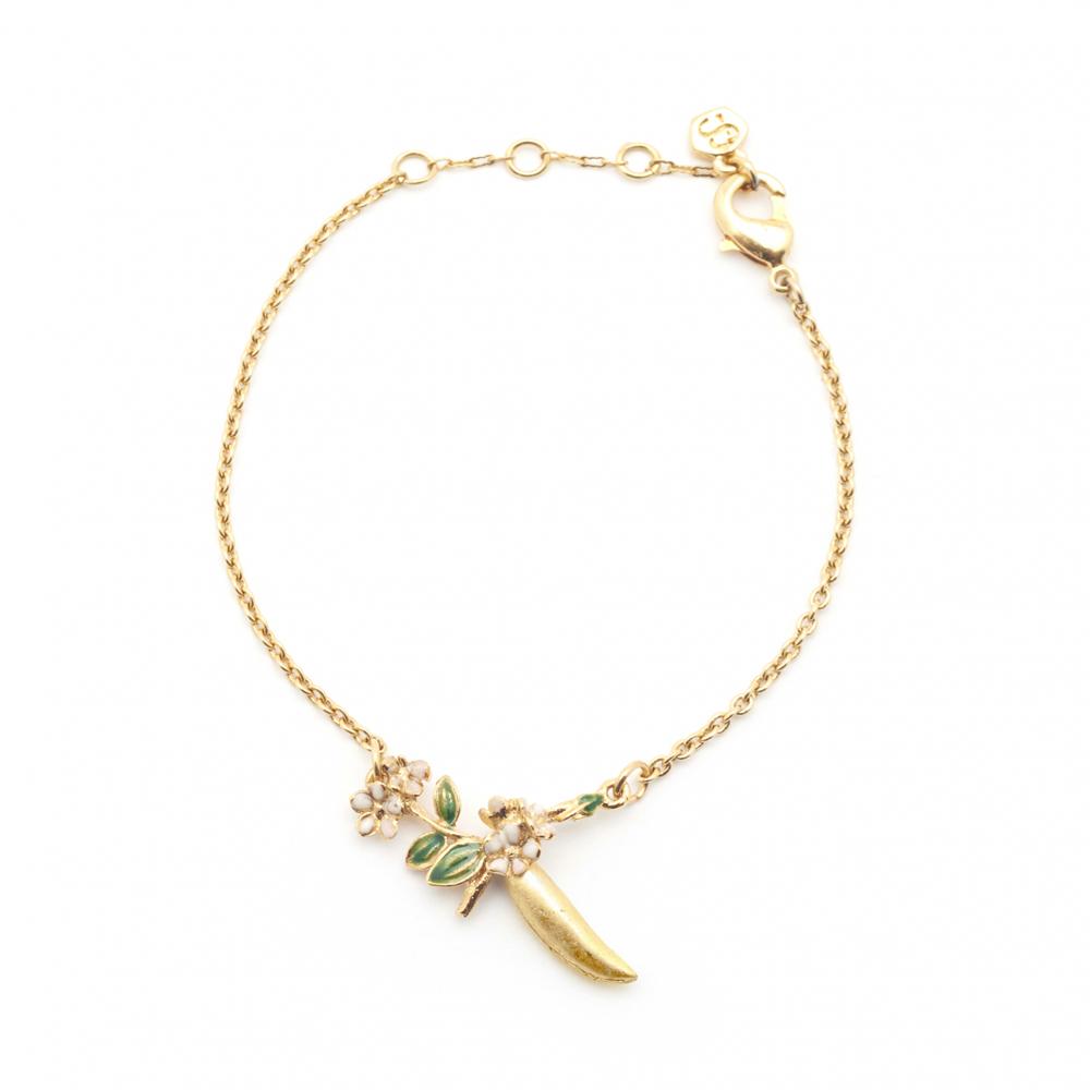Bill Skinner Pea Pod Bracelet, Gold Plated