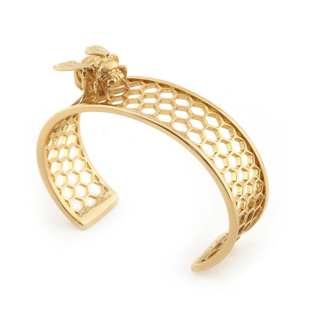 Bill Skinner Bee Cuff, Gold Plated