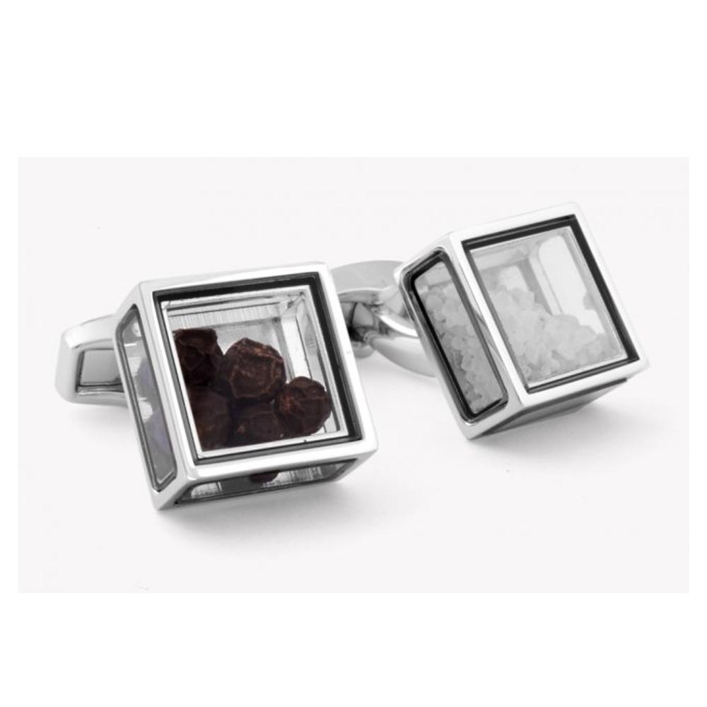 Tateossian Salt & Pepper Glass Box Cufflinks | CL2412