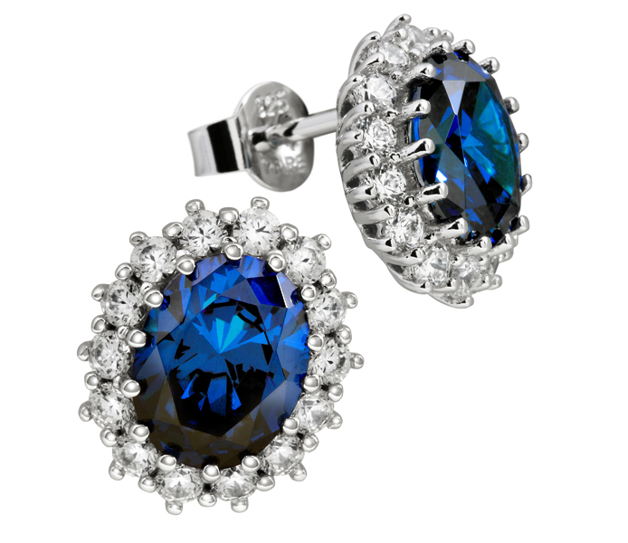Diamonfire - Royal Colours - Royalty Blue Cluster Stud Earrings