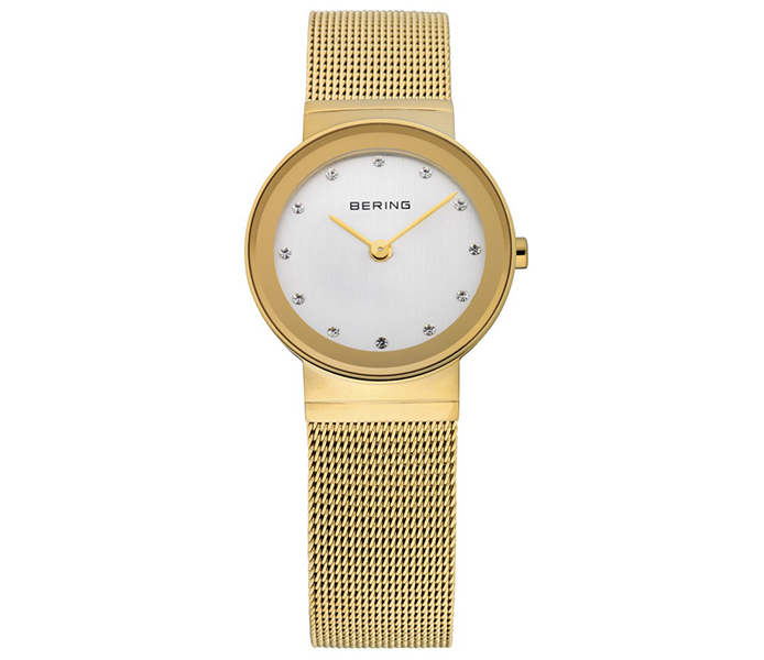 Bering Ladies' Steel Mesh Gold Shiny Watch | 10126-334