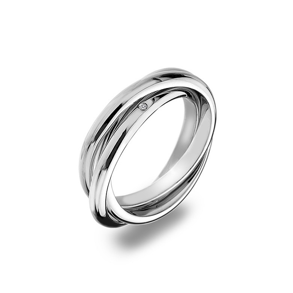 Hot Diamonds Trio Silver Ring, Size N | DR143