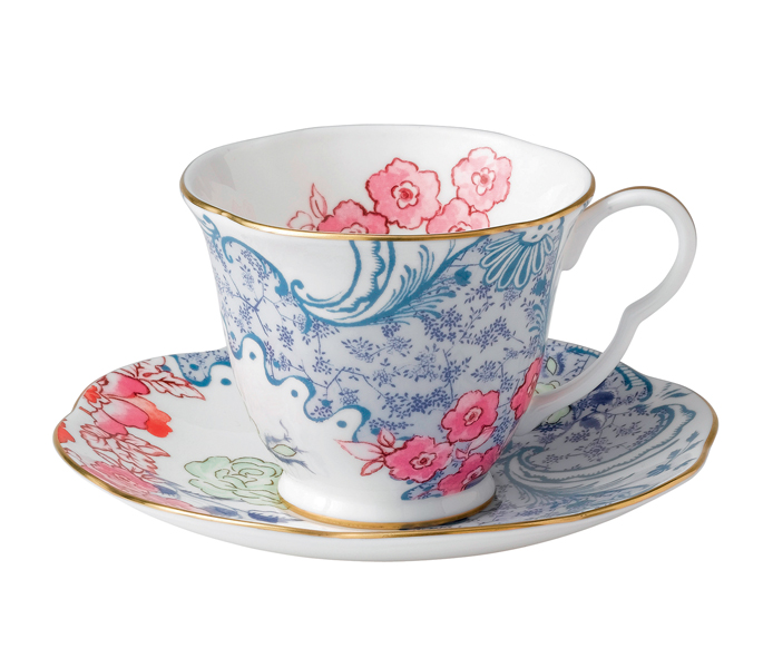 Wedgwood Butterfly Bloom Tea Cup & Saucer Blue and Pink |5C107800047