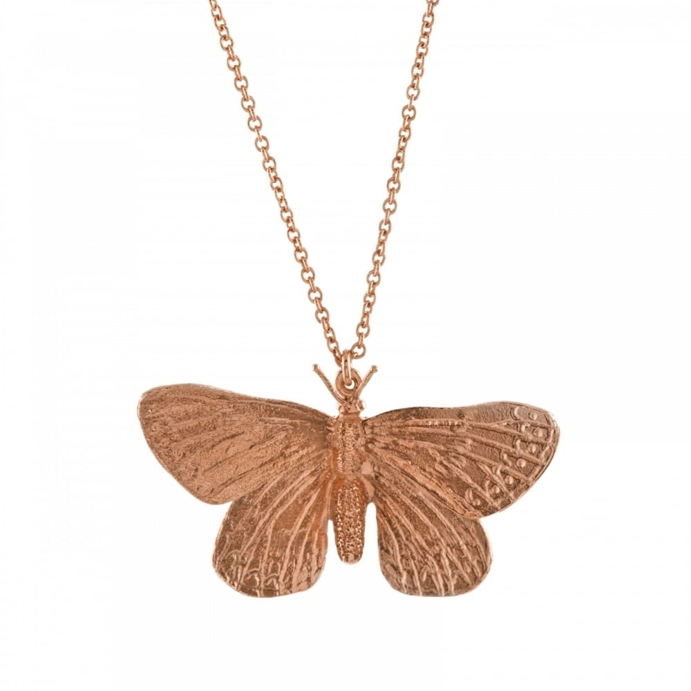 Alex Monroe Duke of Burgundy Butterfly Rose Gold Necklace | ETN3-RGP
